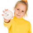 Cute Girl Shows the clock — Stock Photo