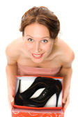 Woman with shoes. — Stock Photo