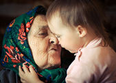 Very old grandmother with granddaughter — Stock Photo