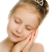 Pretty beautiful girl dreaming with closed eyes — Stock Photo