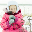 Beautiful happy girl winter outdoors. — Stock Photo