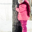 Beautiful happy girl winter outdoors. — 图库照片