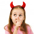 Young girl with horns imp — Stock Photo #18658357