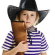 Girl cowboy in a black hat — Stock Photo #18658801