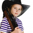 Girl cowboy in a black hat — Stock Photo #18658855