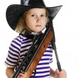 Girl cowboy in a black hat — Stock Photo #18659173