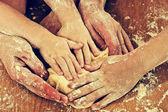 Many hard-working hands — Stock Photo
