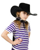 Girl cowboy in a black hat — Stock Photo