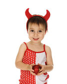 Baby with horns imp — Stock Photo