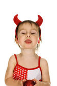 Baby with horns imp tease — Stock Photo