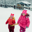 Two baby winter outdoors. - Stock Photo