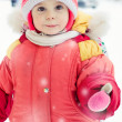 The kid in red jacket winter. — Stock Photo #23217406