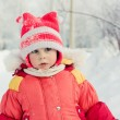 The kid in red jacket winter. — Stock Photo #23218104