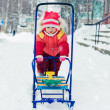 Royalty-Free Stock Photo: Kid rolls sleigh.