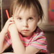 Cute little girl is drawing with felt-tip pen — Stock Photo