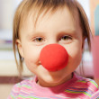 Kid with red nose — Stockfoto