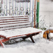 Bench in the snow — Stock Photo