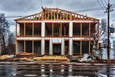 New residential construction home framing. — Stock Photo