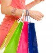 Girl with shopping on white background. — Stock Photo #6204541