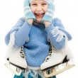 A girl with skates on white background. — Stock Photo #8088906