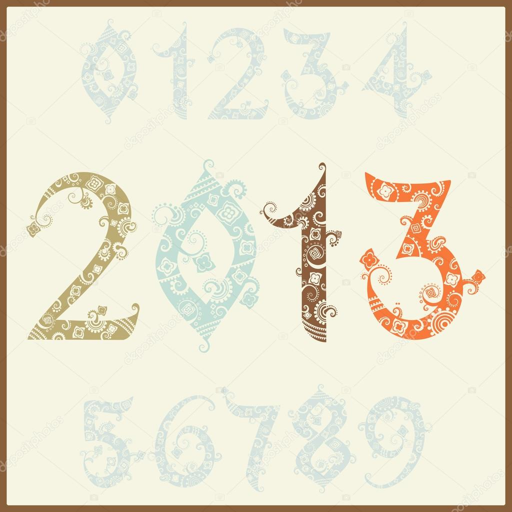New year 2013 (two thousand and thirteen). Set of stylized numbers  Stock Vector #16781071