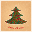 Christmas tree, greeting card in Christmas theme — Stock Vector