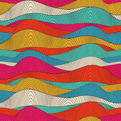 Seamless abstract hand-drawn waves pattern, wavy background. Sea — Stock Vector