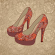 High-heeled vintage shoes with flowers fabric - Stock Vector
