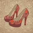 High-heeled vintage shoes with flowers fabric - Stok Vektr