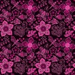 Seamless texture with flowers and birds. Endless floral pattern. — Stockvectorbeeld