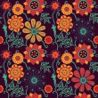 Bright cartoon seamless pattern with flowers and butterflies — Imagen vectorial