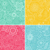 Set colorful floral patterns (seamlessly tiling).Seamless pattern can be used for wallpaper, pattern fills, web page background,surface textures. Floral seamless backgrounds combo. — Vetor de Stock