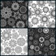 Set of four ornate floral seamless texture — Stock Vector