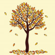 Seasonal autumn tree — Stock Vector