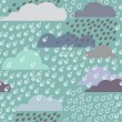 Rainy seamless pattern with clouds - Stock Vector