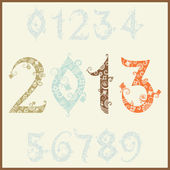 New year 2013 (two thousand and thirteen). Set of stylized numbers — Stock Vector