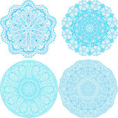 Indian ornament, kaleidoscopic floral pattern, snowflakes. Set of four ornament lace — Stock Vector