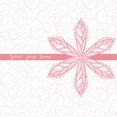 Floral greeting card with place for your text and curly pattern on the back, you can use it separately — Vetor de Stock