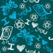 Royalty-Free Stock Vectorafbeeldingen: Seamless pattern with butterflies and birds. I love you.