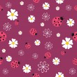 Spring seamless pattern with flowers and ladybirds — Stock Vector