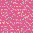 'I love you' seamless pattern with cute hearts and hand-drawn butterflies — Imagens vectoriais em stock