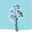 Winter tree and snowfall — Stock Vector