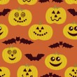 Halloween seamless texture with pumpkin and bats — Stock Vector #21008991