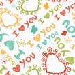 Romantic seamless pattern with butterflies. I love you — 图库矢量图片