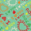 Romantic seamless pattern with butterflies. I love you — Stok Vektör