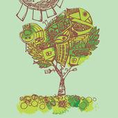 Spring tree, stylized illustration — Stock Vector