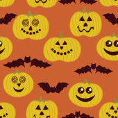 Halloween seamless texture with pumpkin and bats — Stock Vector