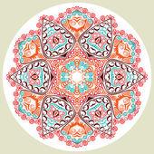 Hint takı, sürekli değişen çiçek desenli, mandala. — Stok Vektör