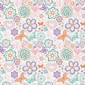 Floral seamless pattern with flowers and butterflies. Endless floral texture for textile. — Stock Vector