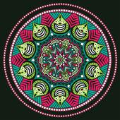 Indian ornament, kaleidoscopic floral pattern, mandala. — Stock Vector